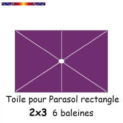 Toile Violette pour parasol Lacanau rectangle 2x3  : position des 6 baleines