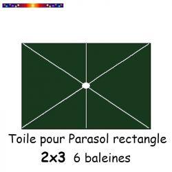 Toile Vert Pinède pour parasol Lacanau rectangle 2x3  : position des 6 baleines