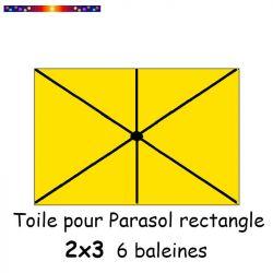 Toile Jaune Bouton d'Or pour parasol Lacanau rectangle 2x3  : position des 6 baleines