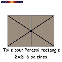 Toile Taupe pour parasol Lacanau rectangle 2x3  : position des 6 baleines
