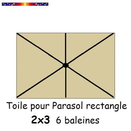 Toile Soie Grège pour parasol Lacanau rectangle 2x3  : position des 6 baleines