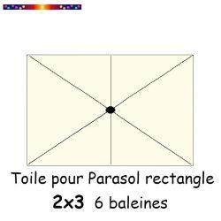 Toile de remplacement pour parasol rectangle 2x3 Crème  : position des 6 baleines