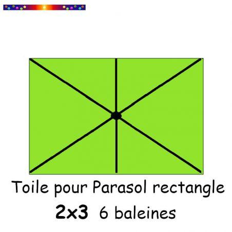 Toile Vert Lime pour parasol Lacanau rectangle 2x3 : position des 6 baleines