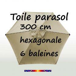 Toile de remplacement Soie Grège HEXAGONALE 300 cm pour parasol Hexagonal 300cm