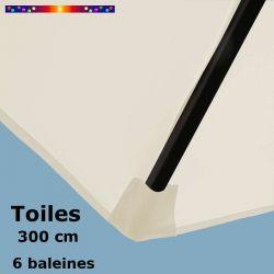 Les fourreaux de fixation de la toile de remplacement pour parasol HEXAGONAL 300 cm couleur Ecru Blanc Cassé