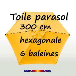 Comment mesurer la toile de remplacement couleur Jaune Tournesol Ø300 cm (6 cotés-mât central Lacanau)