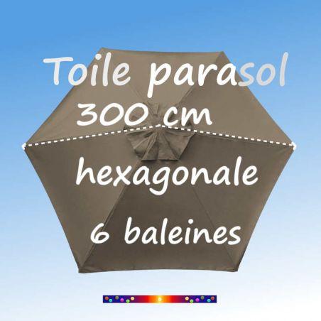 Pour la prise de dimension de la toile de remplacement couleur Taupe Ø300 cm (6 cotés-mât central Lacanau)