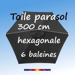 Toile Gris foncé hexagonale Ø300 cm : ce croquis vous explique comment prendre la mesure de la toile