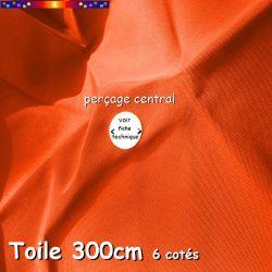 Toile de remplacement Orange Capucine Ø300 cm (6 cotés-mât central Lacanau) : dimension du perçage central