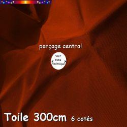 """Toile de remplacement rouge orangé """"Terracotta"""" Ø300 cm ( parasol 6 cotés-mât central Lacanau) percage central 12 mm"""