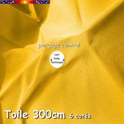 Jaune Tournesol Ø300 cm (6 cotés-mât central Lacanau): comment mesurer le diamètre du perçage de la toile de remplacement