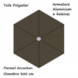 Parasol Arcachon Gris Anthracite 300 cm Alu: descriptif