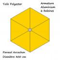 Parasol Arcachon Jaune d'Or 300 cm Alu : descriptif