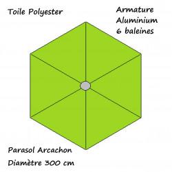 Parasol Arcachon Vert Limone 300 cm : descriptif