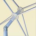 Parasol Arcachon Ecru 200 x 250 cm Alu : détail de l'armature et de l inclinaison