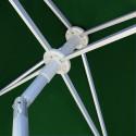Parasol Arcachon Vert Pinède 200 x 250 cm : détail de l'armature et de l'inclinaison