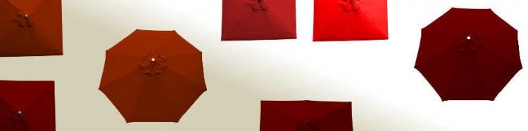 parasols et toiles pour parasols couleurs : rouge,terracotta,bordeaux