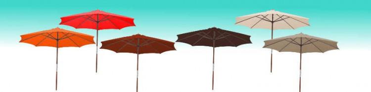 Le site de La Boutique du Parasol  vous propose son Parasol modèle Lacanau Bois a manoeuvre par manivelle Diamètre 300 cm