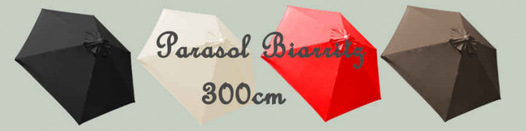 Parasol Biarritz 300 cm Blanc Ecru Nature, Gris Taupe, Gris Anthracite et Rouge Vif