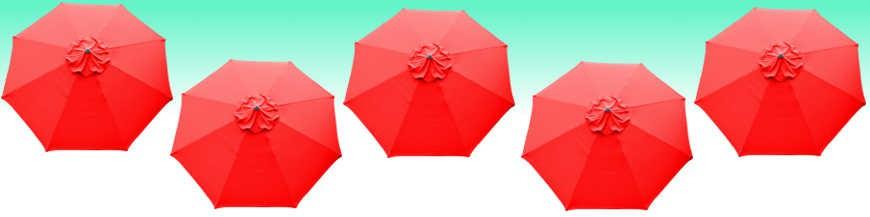 Parasol et toiles rouge vif