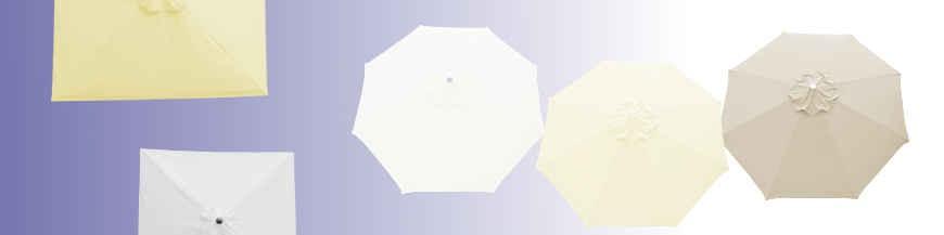 Parasols et Toiles , les Couleurs Nature : Blanc, Ecru, Crème, Grège