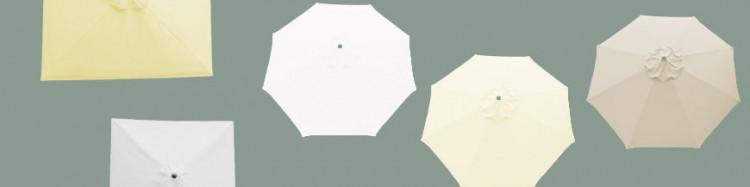 Parasols et Toiles , les Couleurs Nature : Blanc, Blanc Cassé, Ecru, Crème, Grège