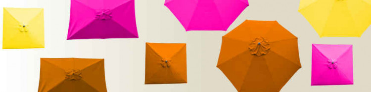 Parasols et toiles de parasols couleurs Orange,Fushia,Jaune