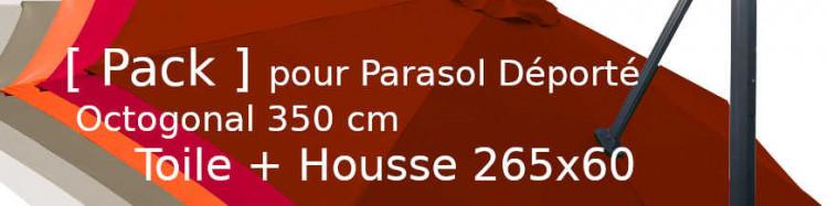 Pack Toile parasol deporté D350/8 + housse 265x60