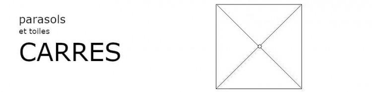 parasols de formes carrées 2x2 et 3x3 avec toiles de la couleur des toiles de notre boutique aux 1000 parasols.
