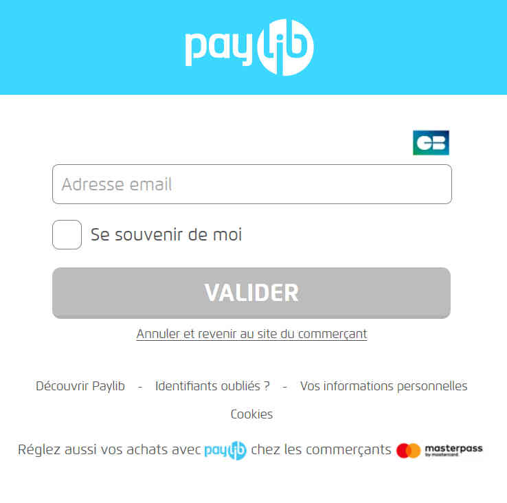 exemple de page de prèglement par Paylib