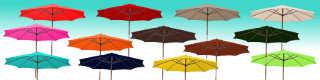 parasol lacanau bois a manoeuvre par manivelle de diametre 300 cm et ses superbes couleurs de toiles