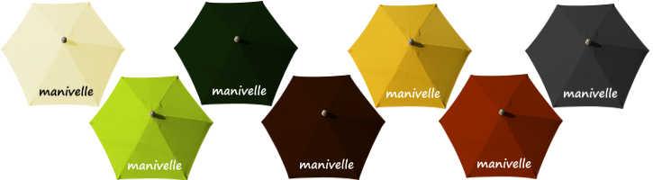 parasol Arcachon diametre 300 cm a manoeuvre par manivelle et ses couleurs de toiles