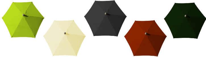 parasol Arcachon alu diametre 250 cm et ses couleurs de toiles