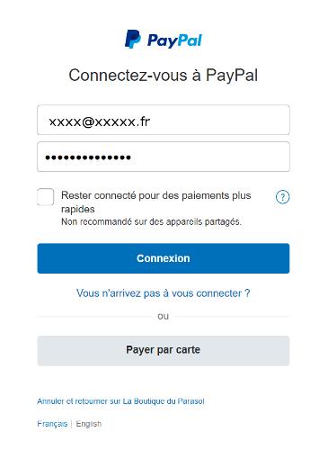 Paiement par carte bancaire ou compte Paypal