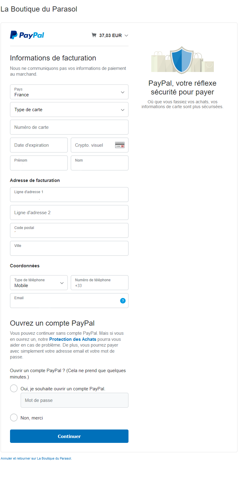 paypal page d'accueil