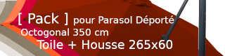 [ Pack ] Toile pour Parasol Déporté + Housse de Protection 265 x 60