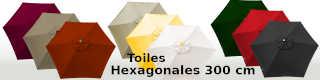 Toiles hexagonales 300 cm pour parasols
