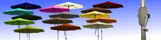 Parasol Lacanau Alu 300 cm manoeuvre par manivelle et ses 15 couleurs de toiles
