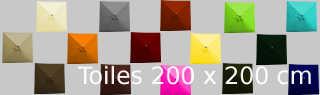 les 19 couleurs des toiles carrées 2x2 pour parasol Lacanau